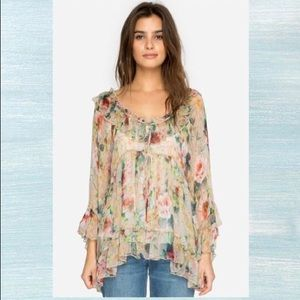 Johnny Was Aria Ruffle Top Silk Blouse Small